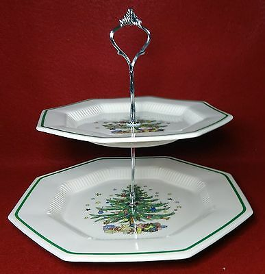 NIKKO china CHRISTMASTIME pattern 2-Tier Serving Tray - dinner & bread plates