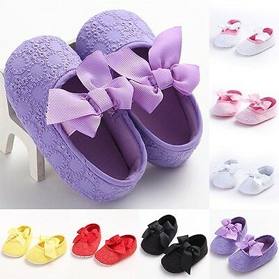 Newborn Baby Infant Girls Shoes Toddler Soft Sole Sweet Bowknot Sneaker Princess