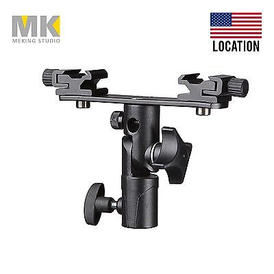 Double hotshoe umbrella holder Swivel Light Stand Bracket Studio High Quality