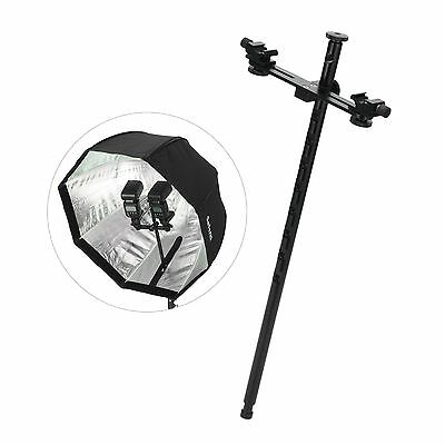 Double Swivel Hot Shoe Flash Bracket Holder Mount Light Stand For DSLR Speedlite