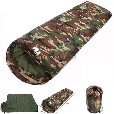 3 Season Outdoor Camo Waterproof Camping Hiking Suit Case Envelope Sleeping Bag