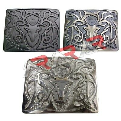 Highland Kilt Belt Buckle Stag Head High Quality Chrome/Antique/Jet Black Finish