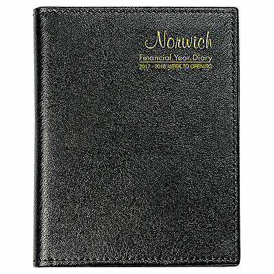 NORWICH 2017 / 2018 Financial Year Diary Week To View Open A6 Pocket 63SFY BLACK