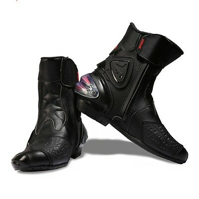 Mens Shoes Leather Waterproof Motorcycle Motorbike Boots Touring Black Riding UK