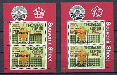 38360) INDONESIA 1982 MNH** Thomas cup, Philexfrance s/sx2