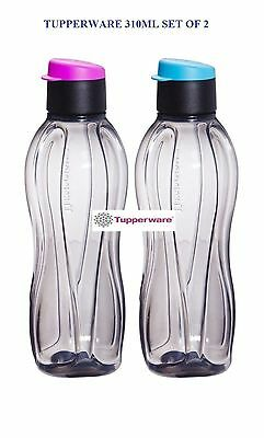 Tupperware Eco Sports Black Flip Top Water Bottles-310ml-Set of 2-Blue,Pink Seal