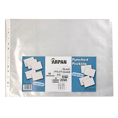 A3 landscape plastic poly punch pockets 26 wallet/sleeves clear  ST-9612