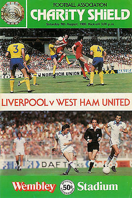 Liverpool v West Ham 9 Aug 1980 FA CHARITY SHIELD WEMBLEY FOOTBALL PROGRAMME