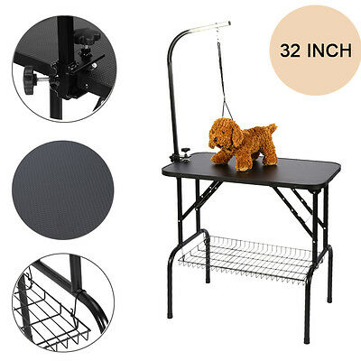 32'' Large Portable Pet Dog Cat Grooming Table Dog Show W/ Arm & Free Mesh Tray