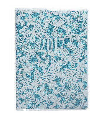 WHSmith 2017 A6 Butterfly Glitter Slipcase Diary Day to Page Case Bound