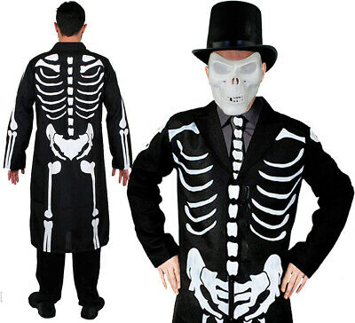 James Bones Costume With Skull Mask Hat Long Skeleton Coat And Tie Fancy Dress