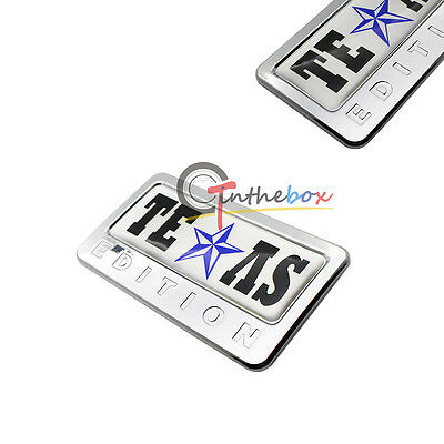 2X Chrome Black Finish 3D Texas Edition Emblem Badges For Ford F-150 F-250 F-350
