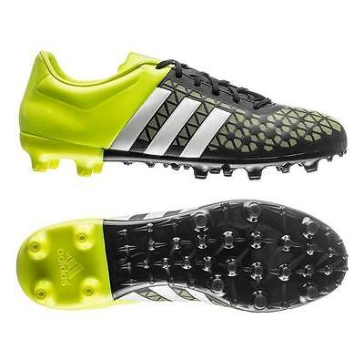 New Mens Adidas Ace 15.3 FG AG Black Yellow Moulded Studs Football Soccer Boots
