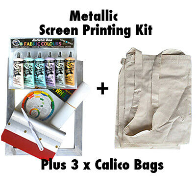 Screen Printing Kit  Metallic Screen Printing Ink Set Calico Bags Permaset Comp