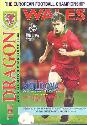 Wales v Moldova - European Championship Qualifier 6 Sep 1995 FOOTBALL PROGRAMME