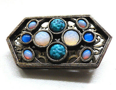 Vintage 1970s Unusual Miracle Signed Brooch Pin Faux Opal Etc