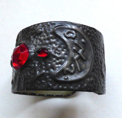 Antique 1900s Arts And Crafts Pewter Paste Stone Ethnic Bangle