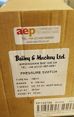 Bailey & Mackey 1581 V 9 - 100 bar Pressure Switch Set 35 bar Reset 15 bar