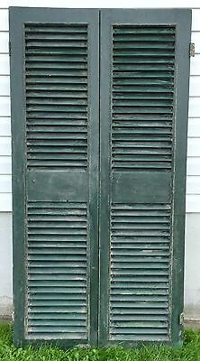 Old Vtg Antique Fixed Louver Architectural Window Storm Shutter Door Hinge Pair