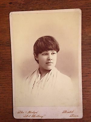 "Vintage Black & White Cabinet Card Photo of Young Lady Bristol, TN 4.25"" X 6.5"""