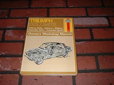 Haynes Manual For Triumph Dolomite 1850 & Sprint. 1972 To 1979.