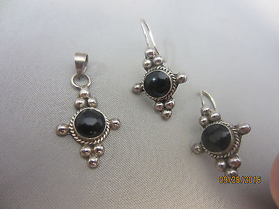 VTG MEXICAN STERLING SILVER ONYX Dangle Earring Pendant Signed Jewelry Set