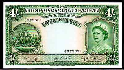 "BAHAMAS P13d ""QUEEN ELIZABETH II"" 1953ND 4 SHILLINGS RAW UNCIRCULATED!"