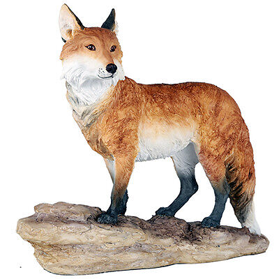 Red Fox Countryside Standing Animal Figurine Wildlife Sculpture Garden