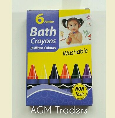 6 x Washable Crayons Baby Bath Safe Colours Non Toxic Fun