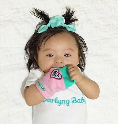 YUMMY MITT® TEETHING MITTEN (GLOW IN THE DARK) Pink & Turquoise- 3-12 MONTHS