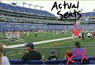2 Baltimore Ravens tickets AMAZING PSLS FRONT ROW Lower Level sec 107, Row 1