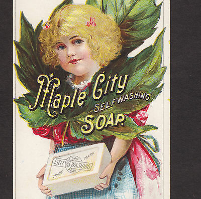 Maple City Soap Bar Leaf Blonde Monmouth IL Victorian Advertising Trade Card
