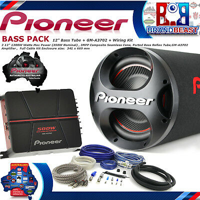 "Pioneer Ts-Wx305T 12"" 1300W Car Audio Subwoofer Bass Pack Gm-A3702 500W Amp Sub"