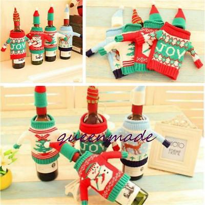Cute Christmas XMAS Knitted Sweater Coat Hat Wine Bottle Topper Wrap Cover LJ