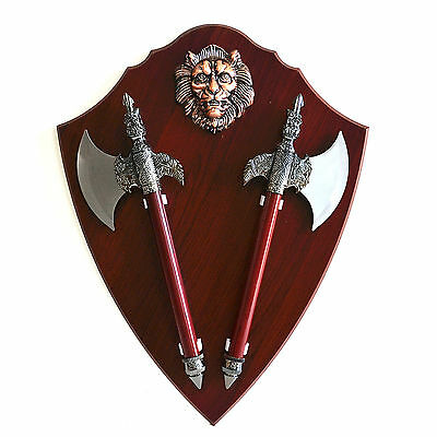 """Gift Wall Decoration Ancient 17.5"""" Double Battle Axe Wooden Display Plaque (004)"""