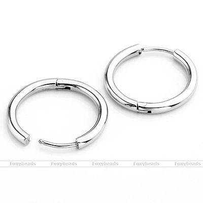 2pc Womens Mens Silvery 16mm Steel Ear Helix Hoop Huggie Stud Sleeper Earring EY