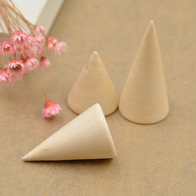 Jewellery Wooden Cone Display Stand Ring Organizer Case  Showing Stand 3pcs