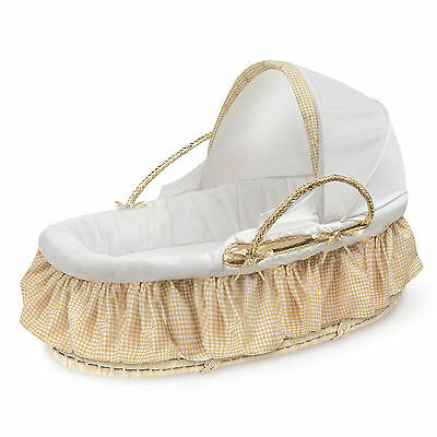Fabric Canopy Natural Moses Basket in Beige Gingham