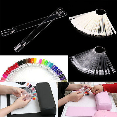 Hot Nail Art False Tips Sticks Practice Display Fan Colour Swatch Design Tool