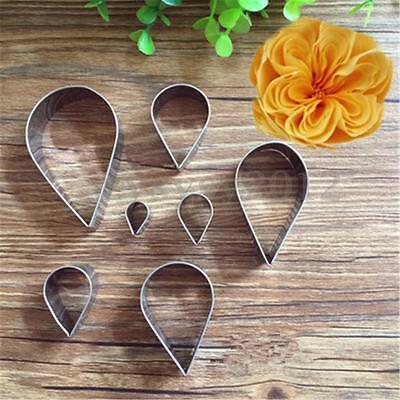7X Rose Petal Cookie Icing Cutter Mold Pastry Sugarcraft Cake Decorating Mould