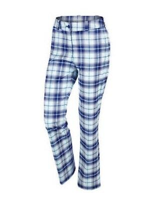 Nike Women's Modern Rise Plaid Golf Trousers Blue size 16