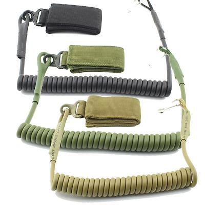 Tactical Pistol Lanyard Sling Elastic Handgun Secure Spring Retention Rope Sling