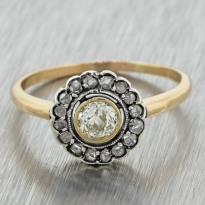 1890s Antique Victorian Silver 18k Yellow Gold .75ctw Diamond Engagement Ring