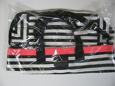 Victorias Secret Pink Tote Beach Bag Limited Edition 2016 Striped Black Pink