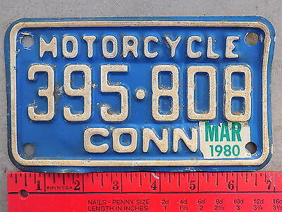 1980 Connecticut CT Motorcycle License Plate 395-808 Blue & White ~FastFreeShip~