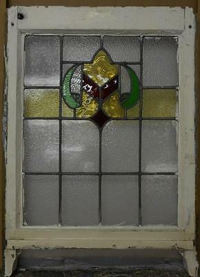 "MID SIZED OLD ENGLISH LEADED STAINED GLASS WINDOW Pretty Abstract 20.5"" x 25"""