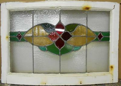 "MID SIZED OLD ENGLISH LEADED STAINED GLASS WINDOW Floral Curved 28.5"" x 19.5"""