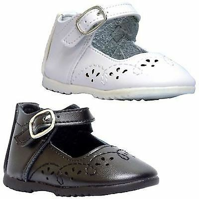 Leather Tots 8904 Infant Toddler Girls Black OR White Strap Mary Jane Shoes