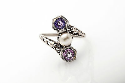 Antique 1920s 1ct Old Natural Pink Purple Sapphire Pearl 14k Gold Filigree Ring