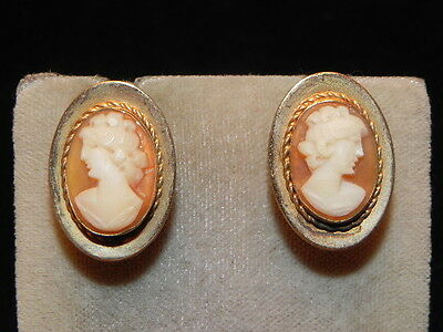 Vintage Van Dell 12K Gold Filled Carved Shell Real Cameo Earrings